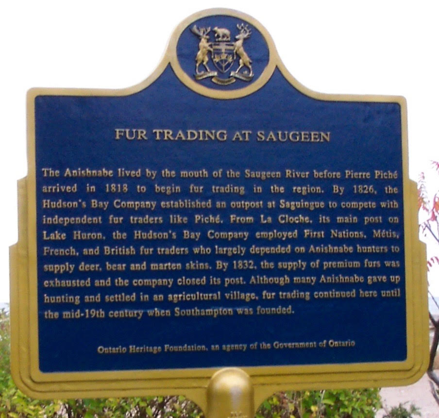 Fur Trading At Saugeen Plaque